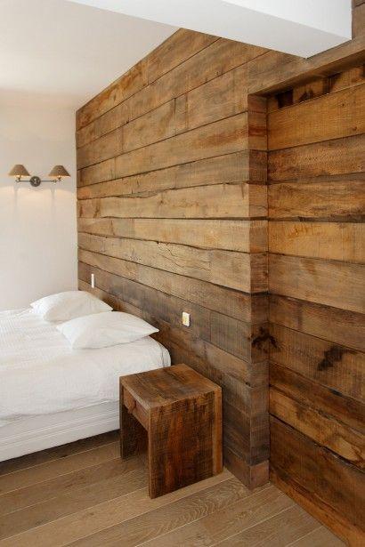 Bardage intérieur en bois - Aménagement entreprise de construction
