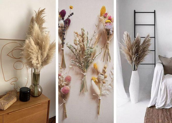 Fleurs séchées et pampas - Tendances décoration 2020, entreprise de construction Liège