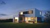 Maison haut de gamme toiture plate vue nuit