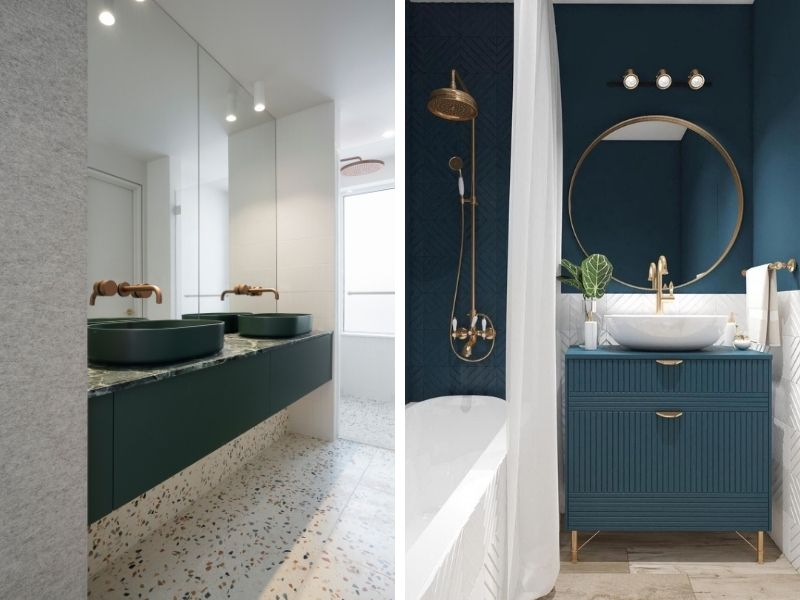 Salle de bains bleue, verte intemporelle - Entreprise de construction sur mesure à Liège
