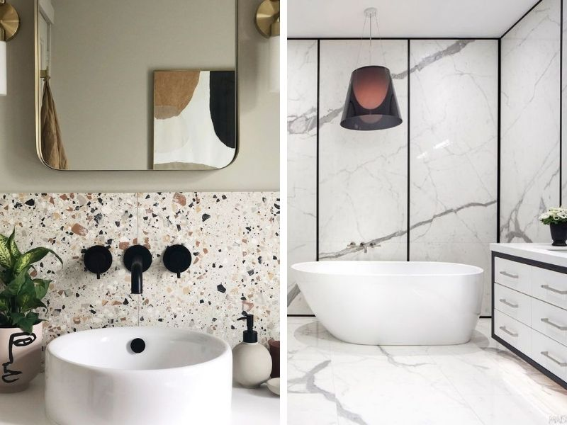 Salle de bains Terrazzo ou marbre - Entreprise de construction sur mesure Liège